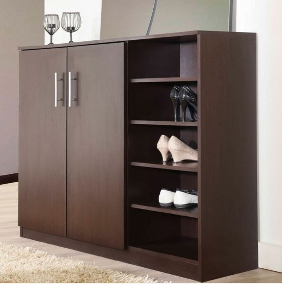 Large Wood Shoe Cabinet Storage Rack Organizer Entryway Shelves
