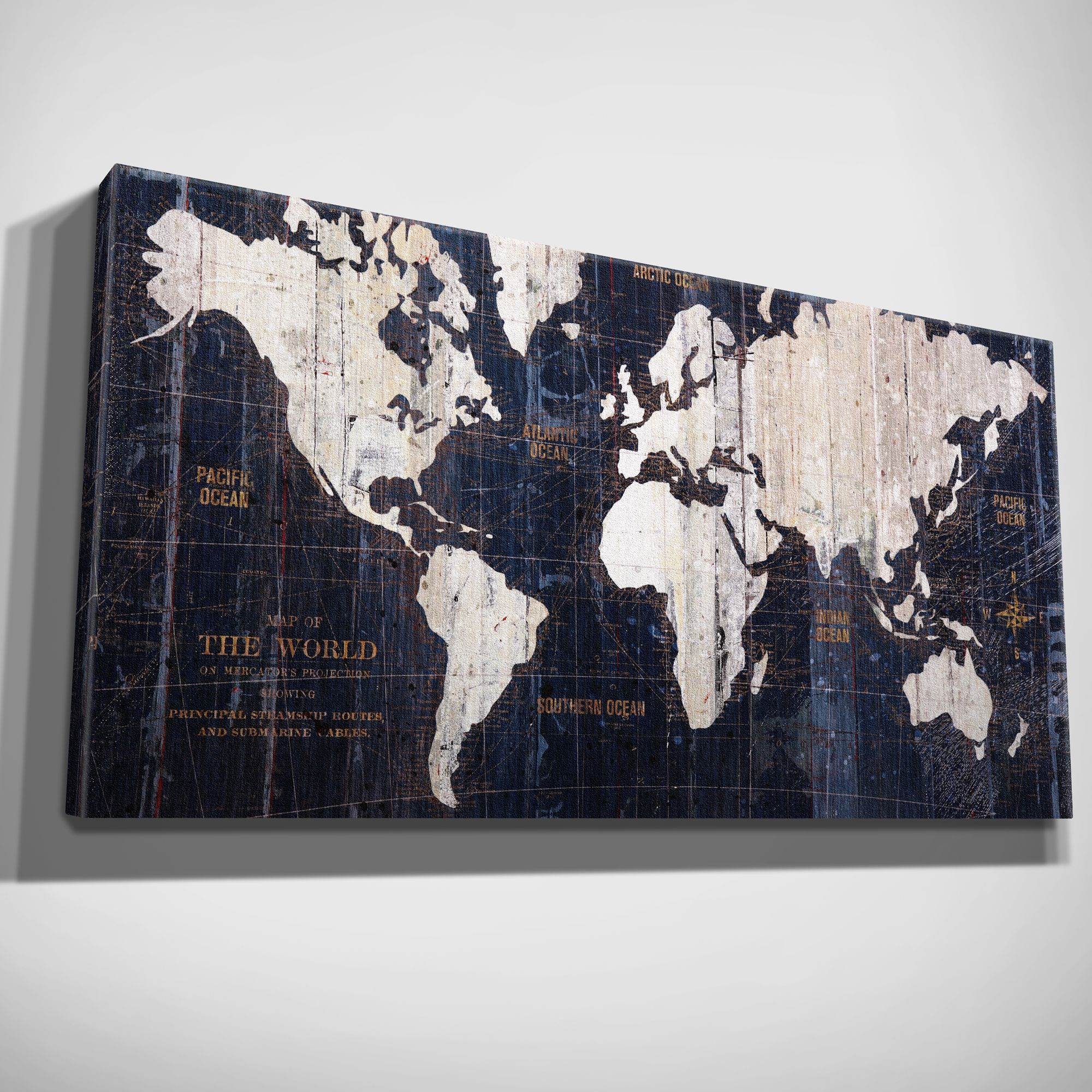 Display a vintage look at the world with this old world map wall new gallery wrapped canvas painting graphic wall art sculpture old world map in art art prints gumiabroncs Gallery