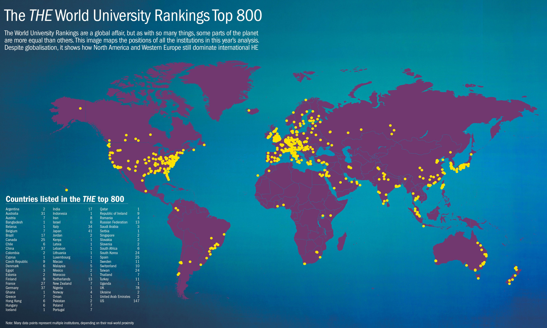 Map of universities in rankings | University rankings, World ...