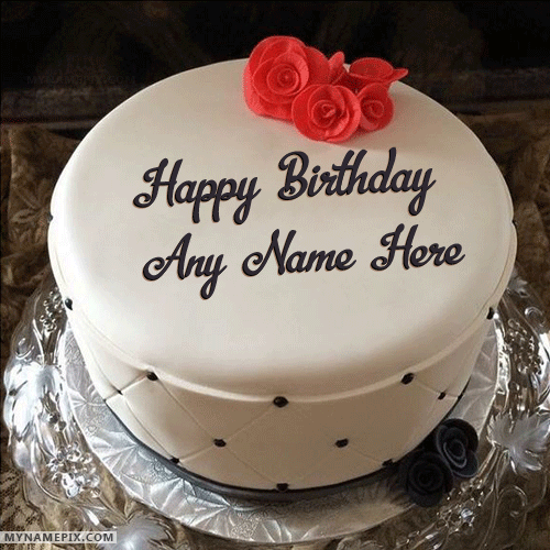 Simple Elegant Birthday Cake With Name For Friends And Family To