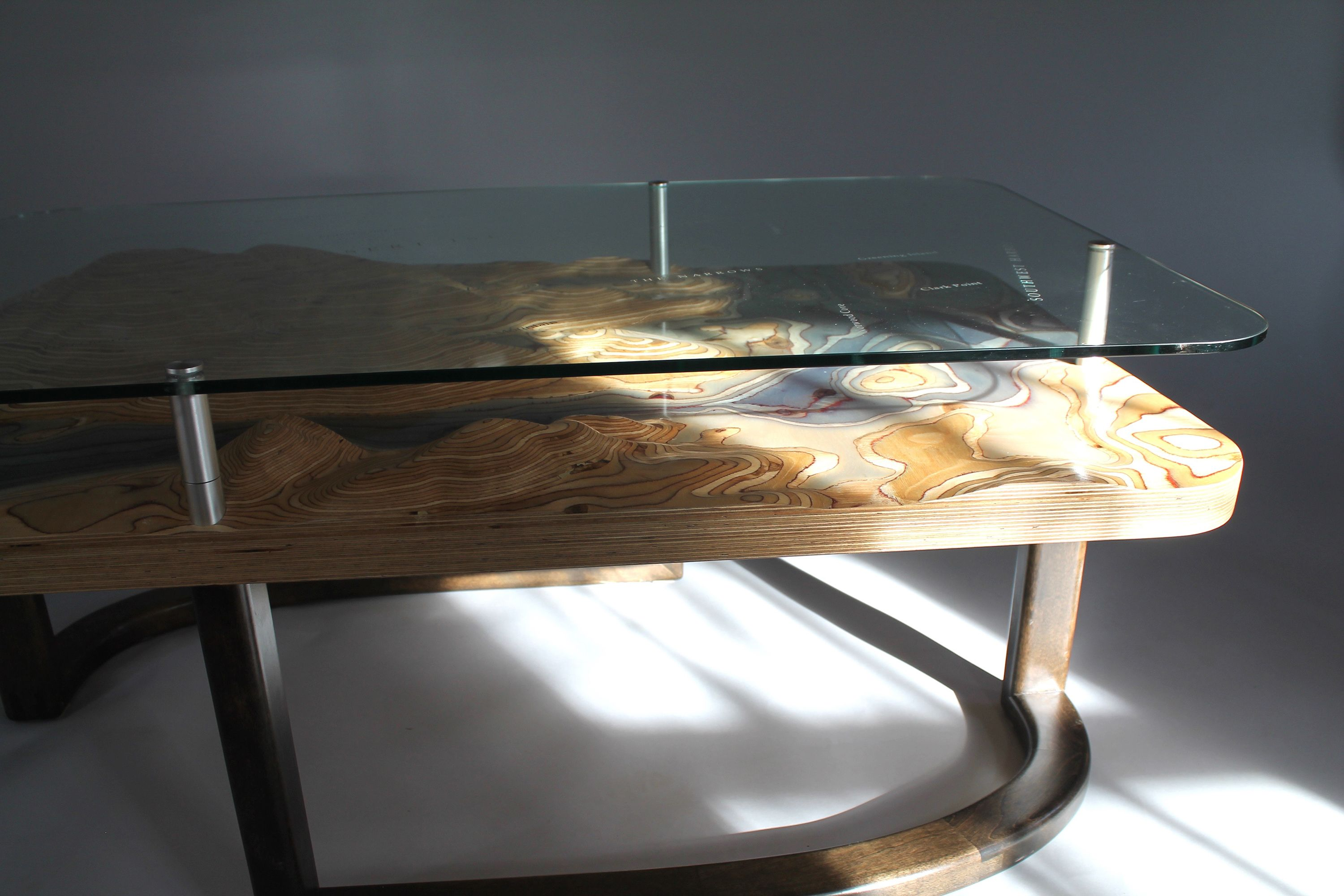 Topographical Inspired Coffee Table Depicting Mdi Maine Home