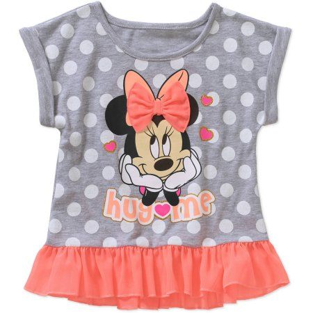 Minnie Mouse Toddler Girl Graphic Ruffled Peplum Tee Shirt, Size: 25 Months, Gray