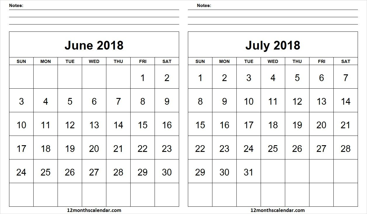 blank june july 2018 calendar with notes editable 12 month calendar 12 months schedule
