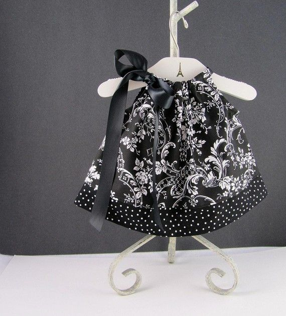 Infant Pillowcase Dress - Black and White - Swing Dress and Bloomer Outfit - Sizes Newborn 3 Months 6 Months 9 Months or 12 Months & I have the pattern just need to find cute fabric.. I want to make ... pillowsntoast.com