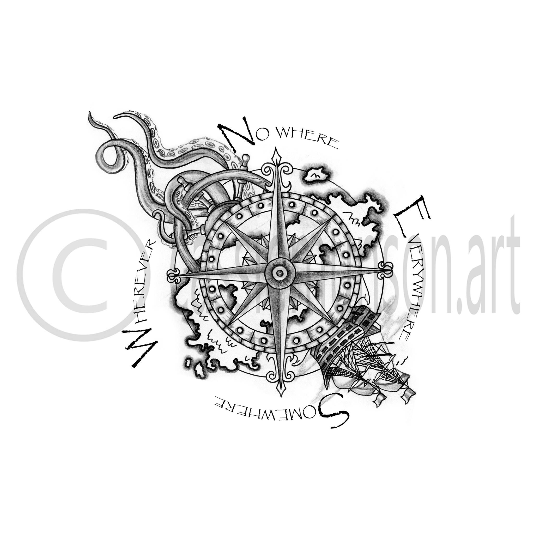 Compass Tattoo Drawing - Google Zoeken