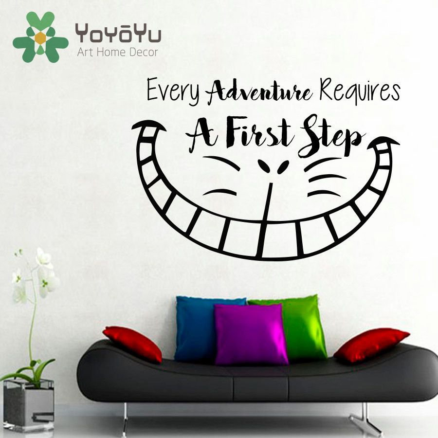 Cheshire Cat Smile Wall Decal Quote Every Adventure Requires A First ...