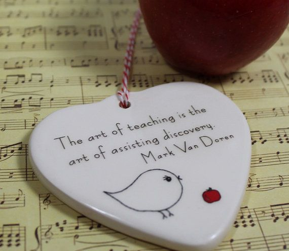 TEACHER Appreciation Porcelain Heart Ornament  by aphroditescanvas, $20.00