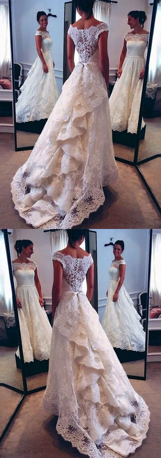 Vintage scoop neckline lace wedding dresses bustle style bridal