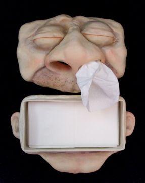 Polymer Clay Fine Art   Artist Jenn Dott's Polymer Clay Face Tissue Box   Art Nectar