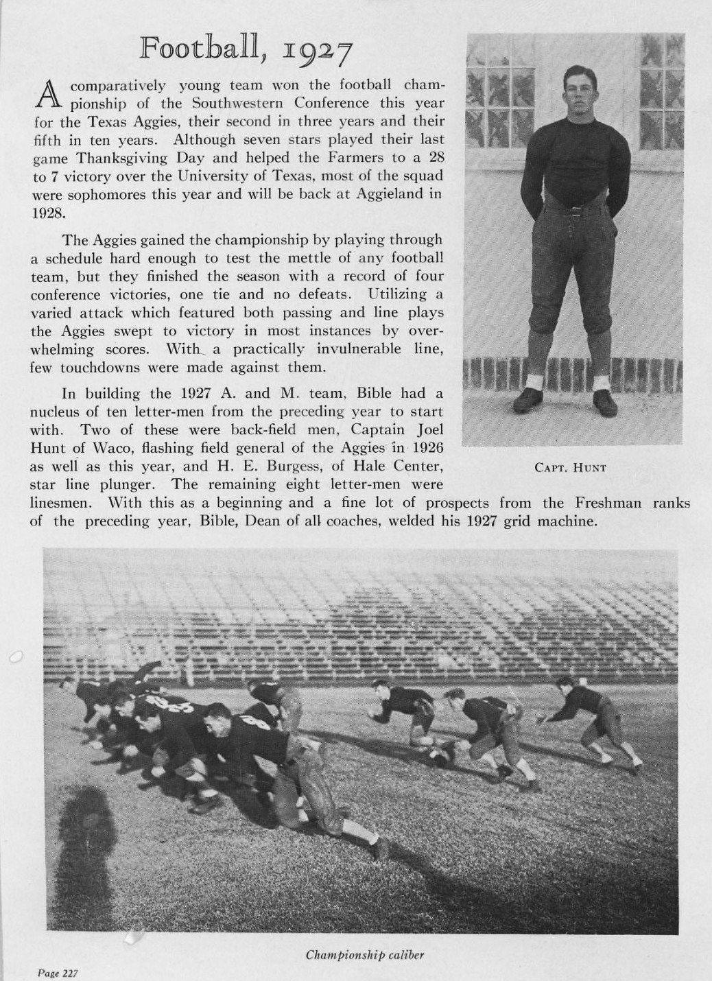1927 Texas A & M Aggies Football Outlook on the team