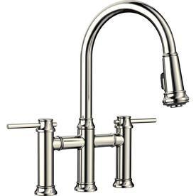 Blanco Empressa Polished Nickel 2 Handle Deck Mount Bridge Handle Lever Residential Kitchen Faucet Lowes Com Kitchen Faucet Faucet Modern Kitchen Faucet