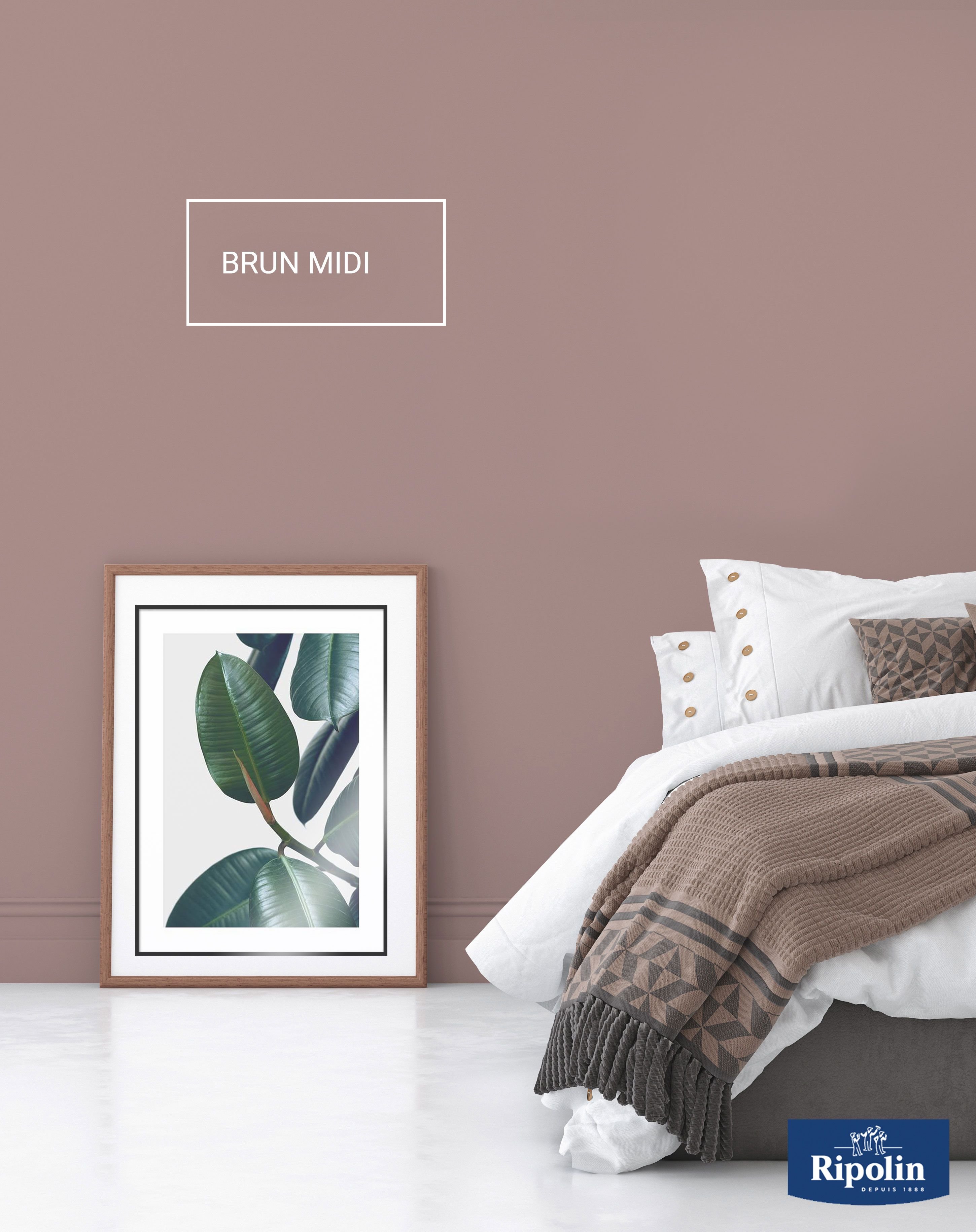 Deco Chambre Ton Taupe mélange entre le brun rosé et le rose boisé, le brun midi