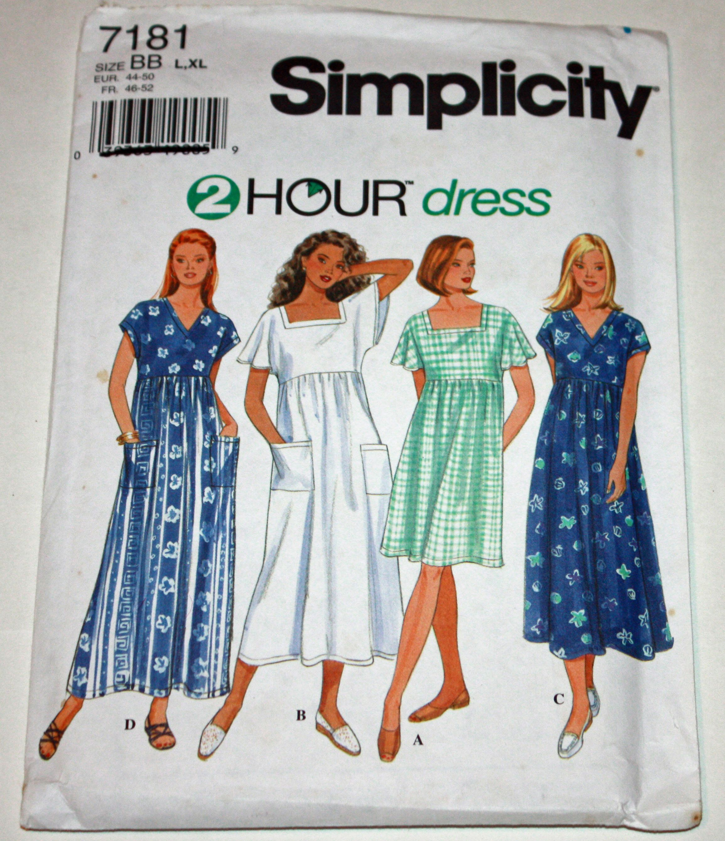 Uncut Ff Vintage 1990s Sewing Pattern Simplicity 7181 Misses Dress Size Large Xlarge S Kids Fashion Clothes Mix Match Outfits Womens Sewing Patterns