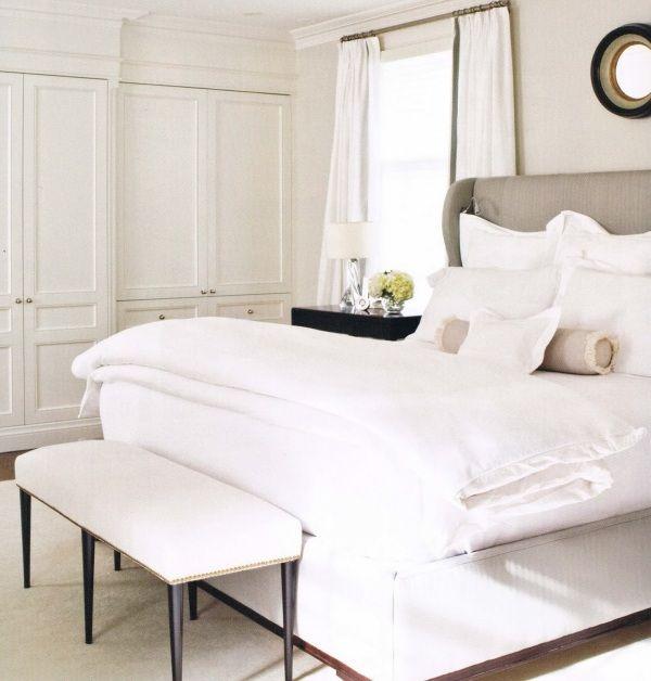 Schlafzimmer Komplett In Weiß Beige Kopfteil Kleiderschrank