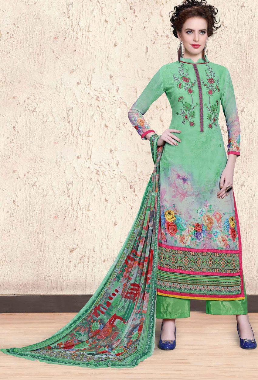 125185bd18345 Semi Stitched #Green #Chiffon #Printed #Shalwar #Kameez #nikvik #usa  #designer #australia #canada #freeshipping #suits