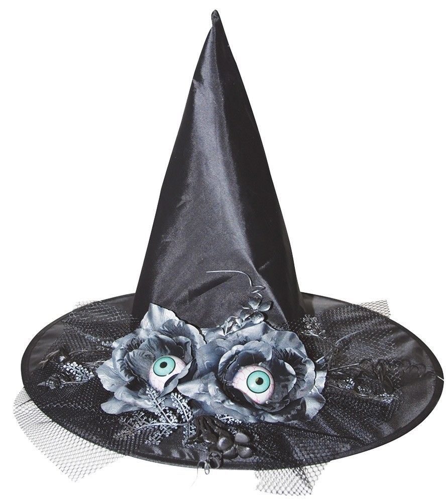 Black Pointed Witch Hat With Silvery Flowers Eyes 17 Inches Sunstar Industries Ebay Witch Hat Witch Halloween Hats