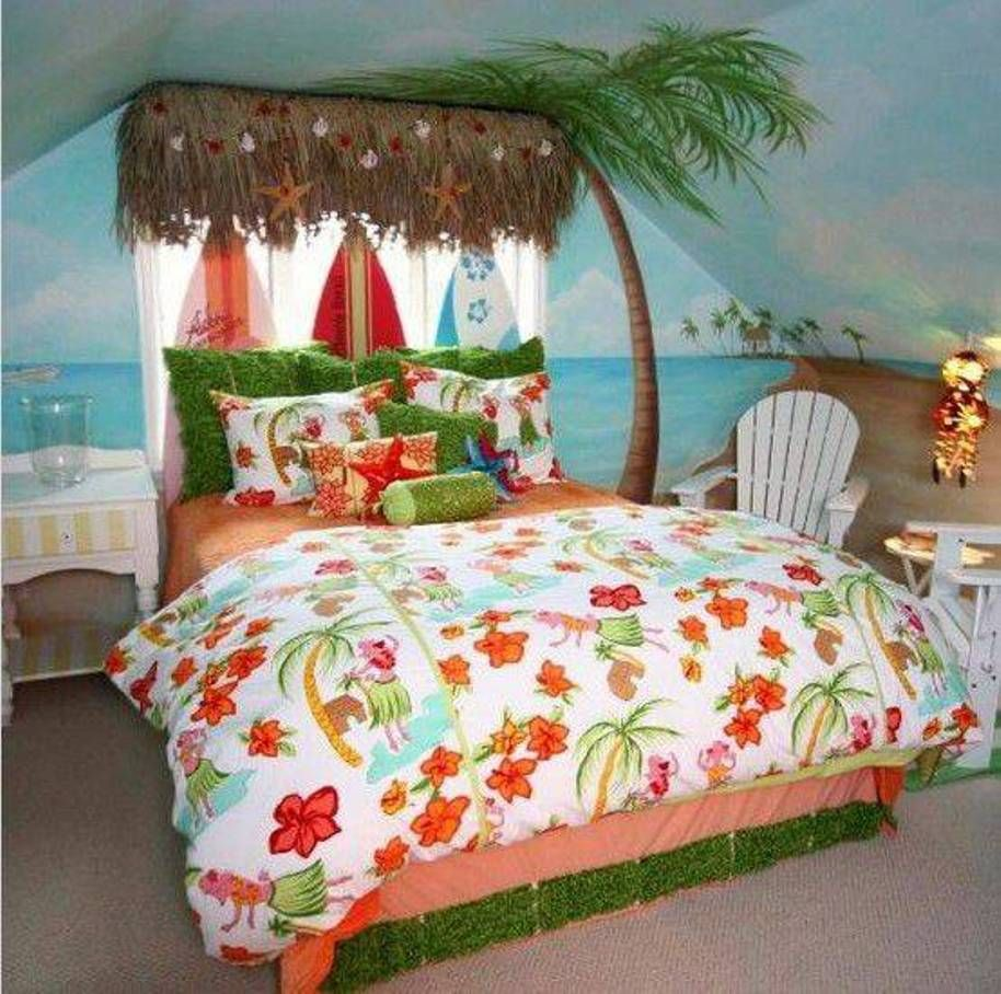 Beachy Bedroom Ideas Tropical Beach With Wall Painting Adirondack Chairs Tiki Hut Roof And Surfer H Teenage Beach Bedroom Beach Style Bedroom Beach Bedroom