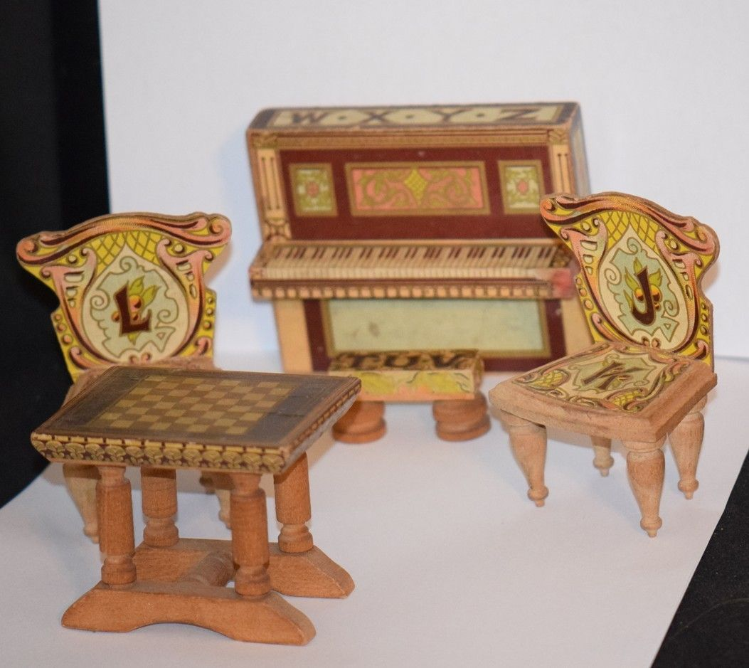 mini doll furniture. Antique Doll Miniature Dollhouse Bliss Wood \u0026 Litho ABC Alphabet Furniture Piano Stoll Chess Table Mini M