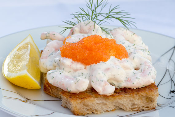 Prawns on toast (Toast Skagen also called Skagenröra)