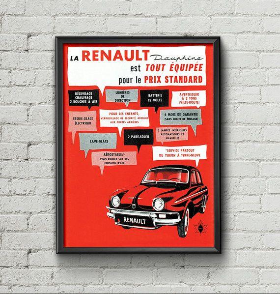 Affiche renault dauphine 1960 garage atelier vintage for Garage renault atelier