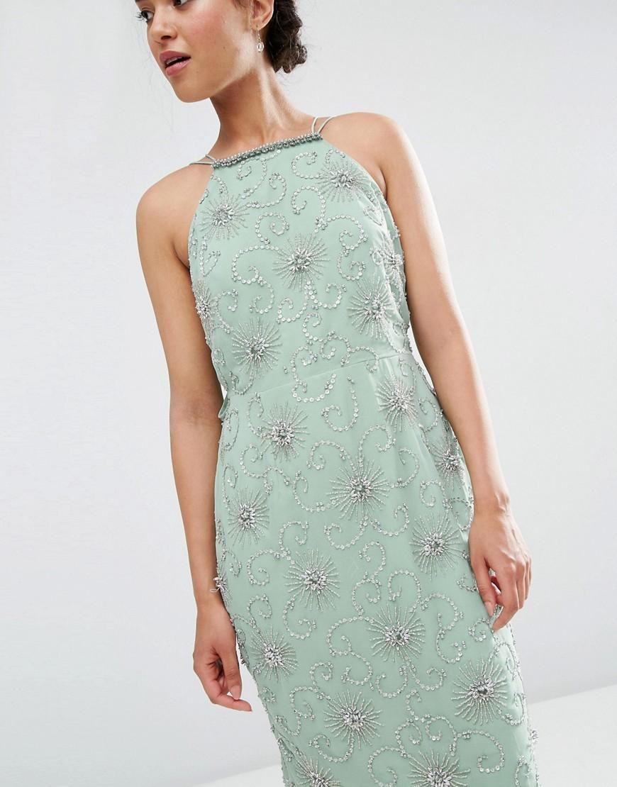Asos petite asos petite wedding embellished drape back midi dress