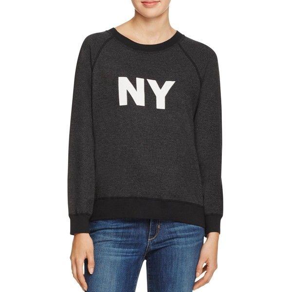 Monrow Vintage Ny Sweatshirt (465 BRL) ❤ liked on Polyvore featuring tops, hoodies, sweatshirts, black, monrow, monrow sweatshirt, long sweatshirt, rock tops and long tops