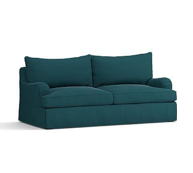 PB Comfort English Arm Sleeper Sofa Slipcover, Knife Edge, Vintage Velvet Bali