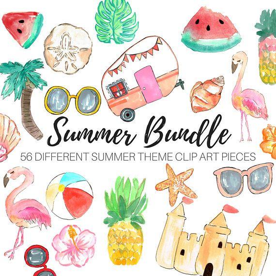 Watercolor clip art - Summer clip art - Tropical clip art ...