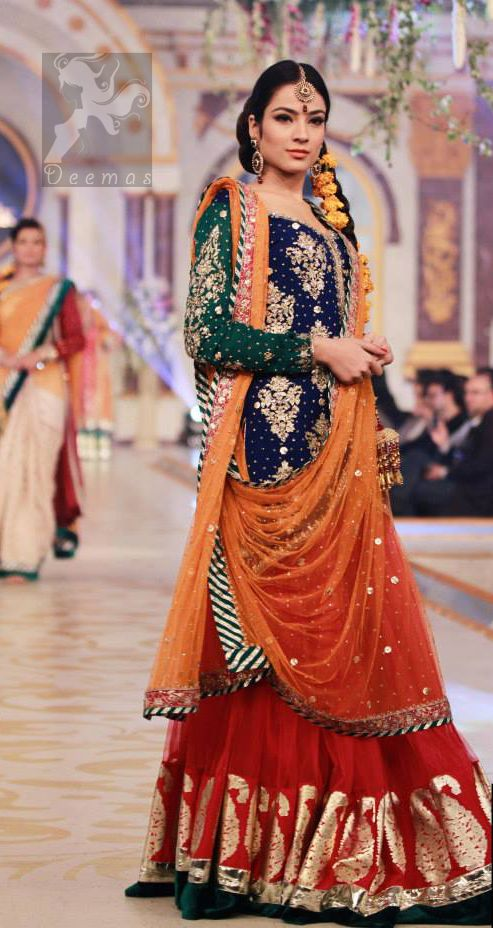 94ac51131f Mehndi Dresses 2017 - Royal Blue - Deep Orange - Red Lehenga in 2019 ...