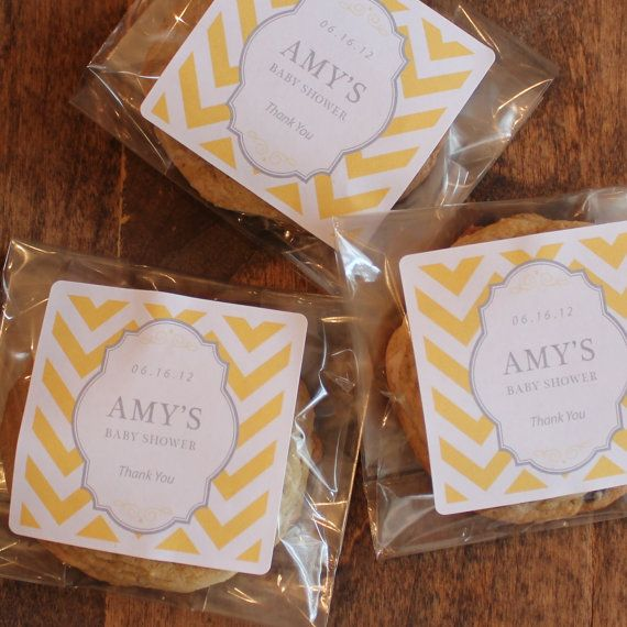 24 Baby Shower Favor Bags With Personalized Chevron Label Candy Cookie Any Color Buffet