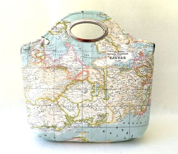 Never Forget Where You Are World Map Printed Fabric Metal Purse