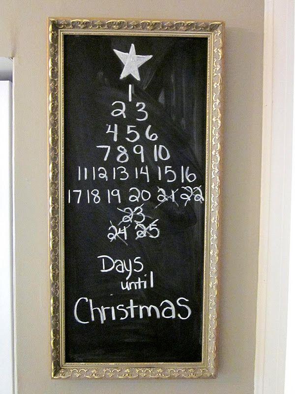 Cute countdown chalkboard repurposing a rectangular frame...paint ...
