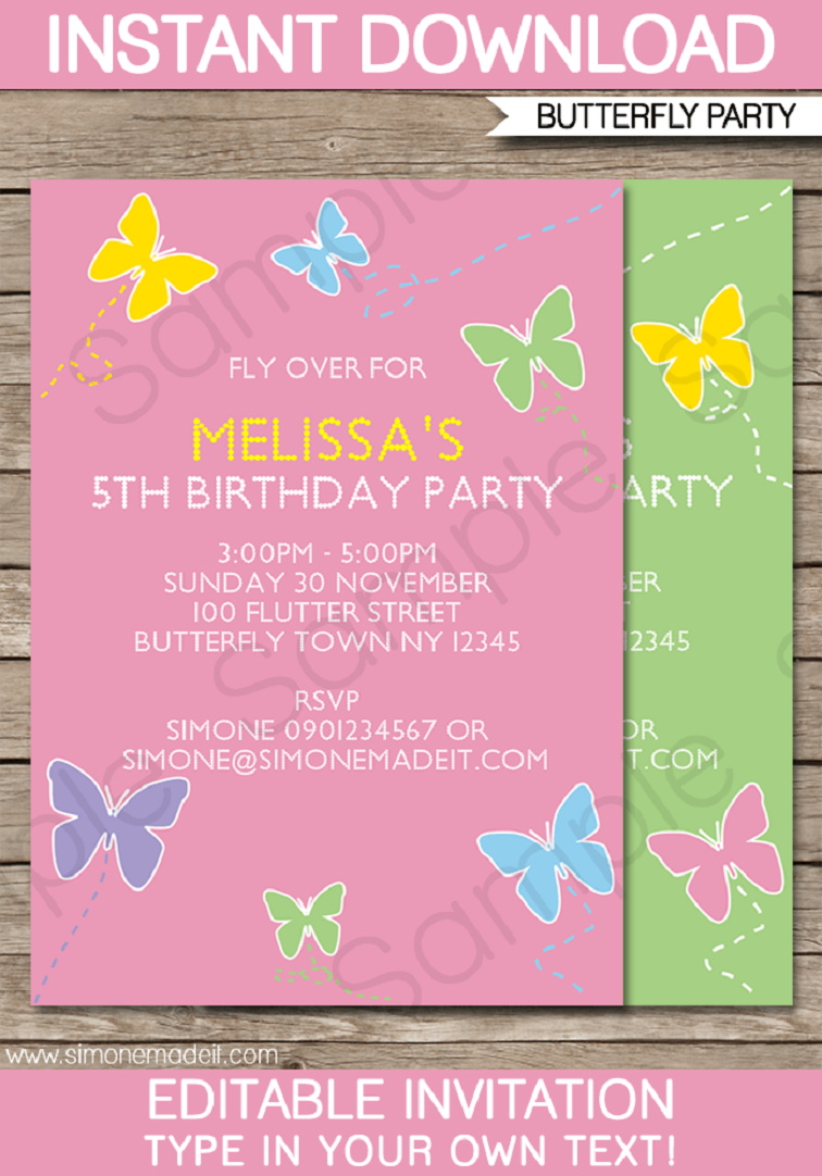 Butterfly Birthday Invitations Free Printable Butterfly Party Invitations Party Invite Template Butterfly Birthday Invitations