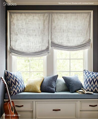 Relaxed Roman Shade In Linen Roman Shades Living Room Roman