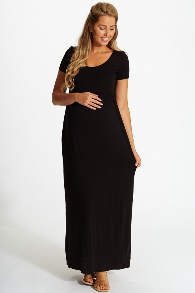 bac916f748 PinkBlush - Where Fashion Meets Motherhood. Black-Solid-Short-Sleeve- Maternity-Maxi-Dress