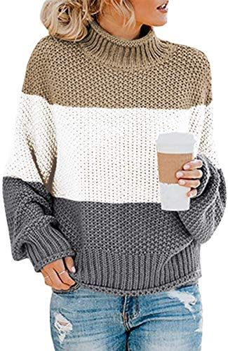 New Glanzition Women's Turtle Neck Oversized Chunky Knit Jumper Pullover Sweaters online #chunkyknitjumper