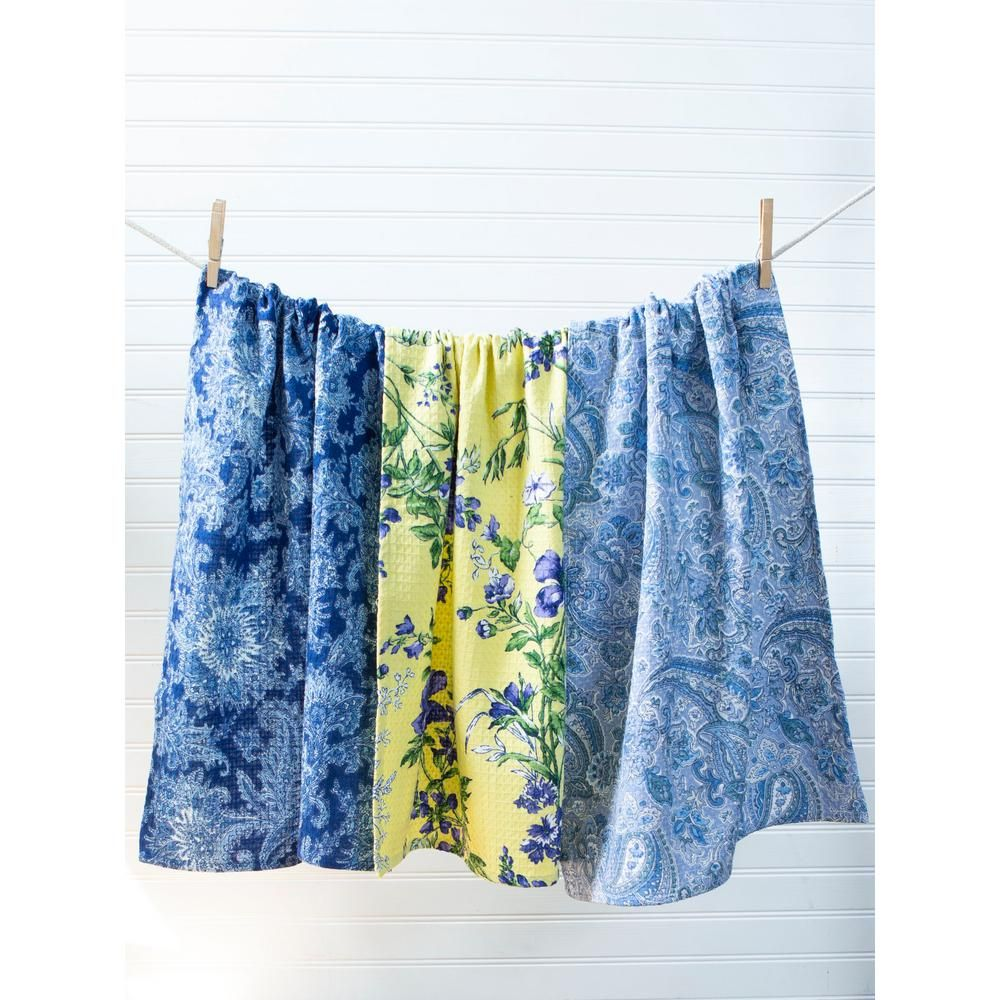April Cornell Floral Flowers Blue And Yellow Kitchen Tea Towels