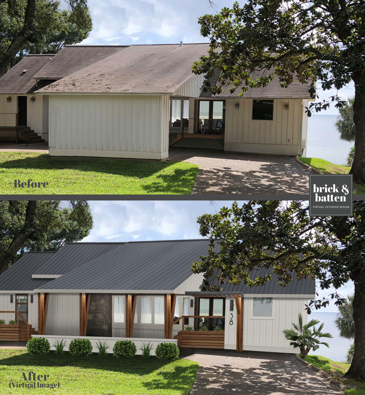 This Pensacola Beachhouse Got A Brickandbatten Virtualexteriordesign By Opening Up The Carport The View Curb Appeal Bungalow Exterior Wood Siding Exterior