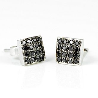 These Black Ice Diamond Earrings Feature 16 Round Cut Diamonds Within Each Earring Order Online Thediamondstudio Co Uk