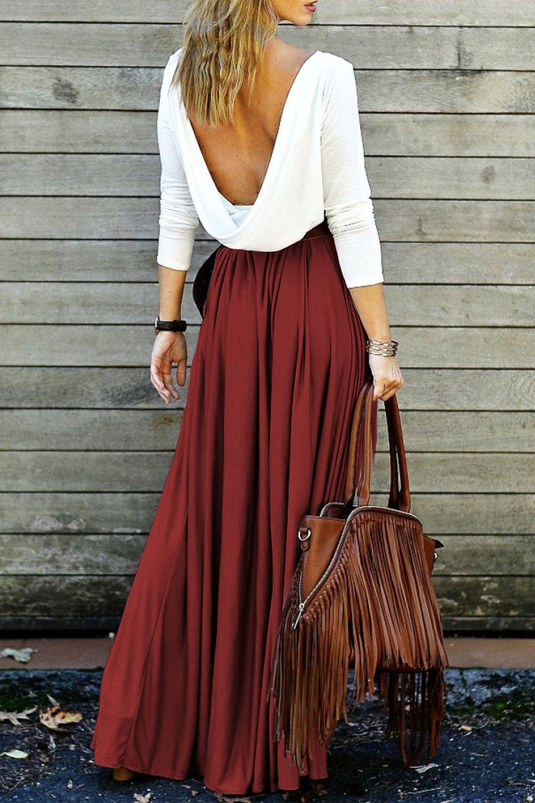 long sleeve maxi draped open back dress wine red dresses