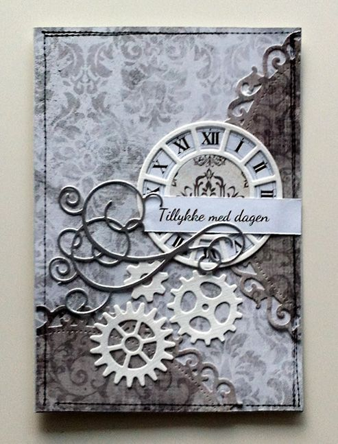 classy handmade card with flourishes and gears ...