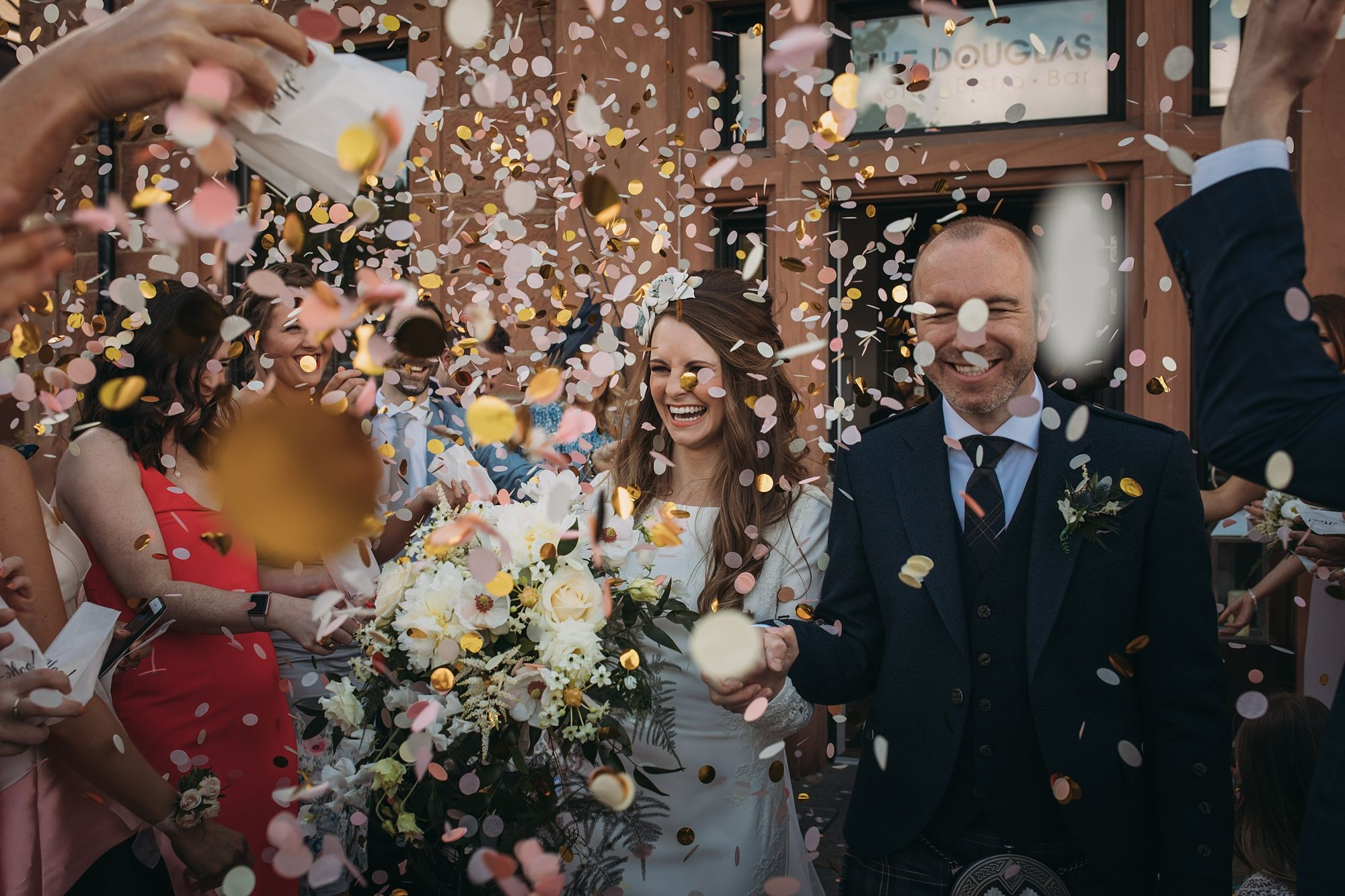 So Much Confetti At This Wedding On The Isle Of Arran