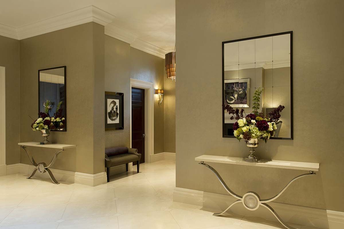 Entrance Room Ideas Entrance Hall With Pair Of Console Tables And Mirrors