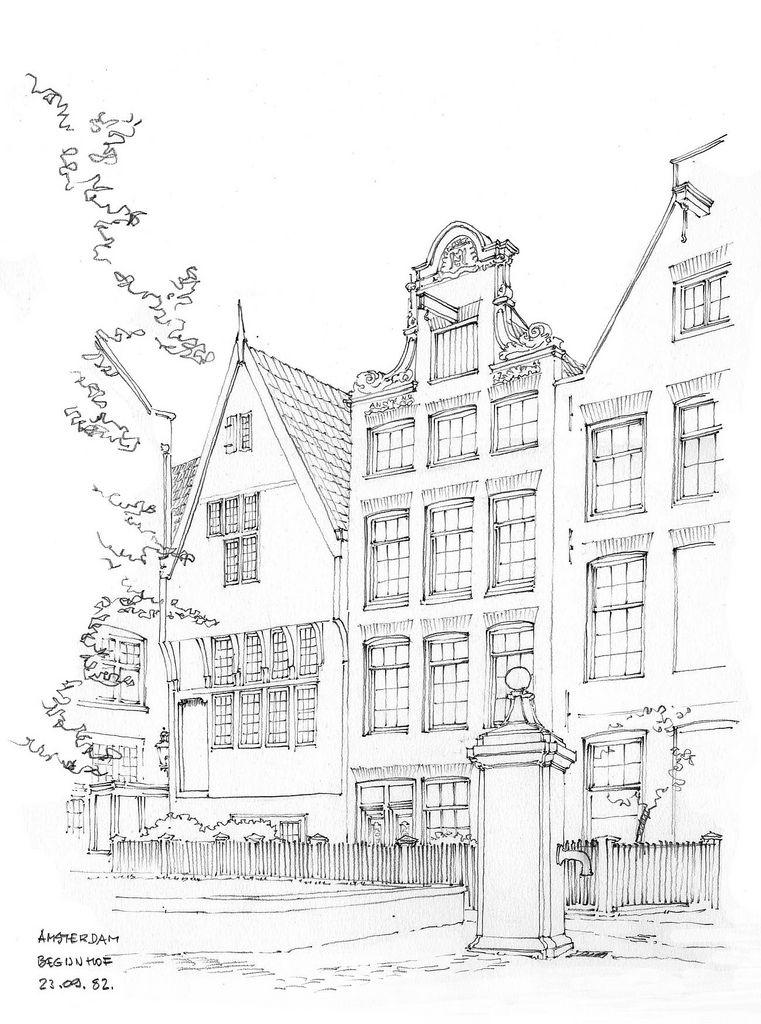 Amsterdam Begijnhof Paisagem Desenho Cidade Desenho Livro De