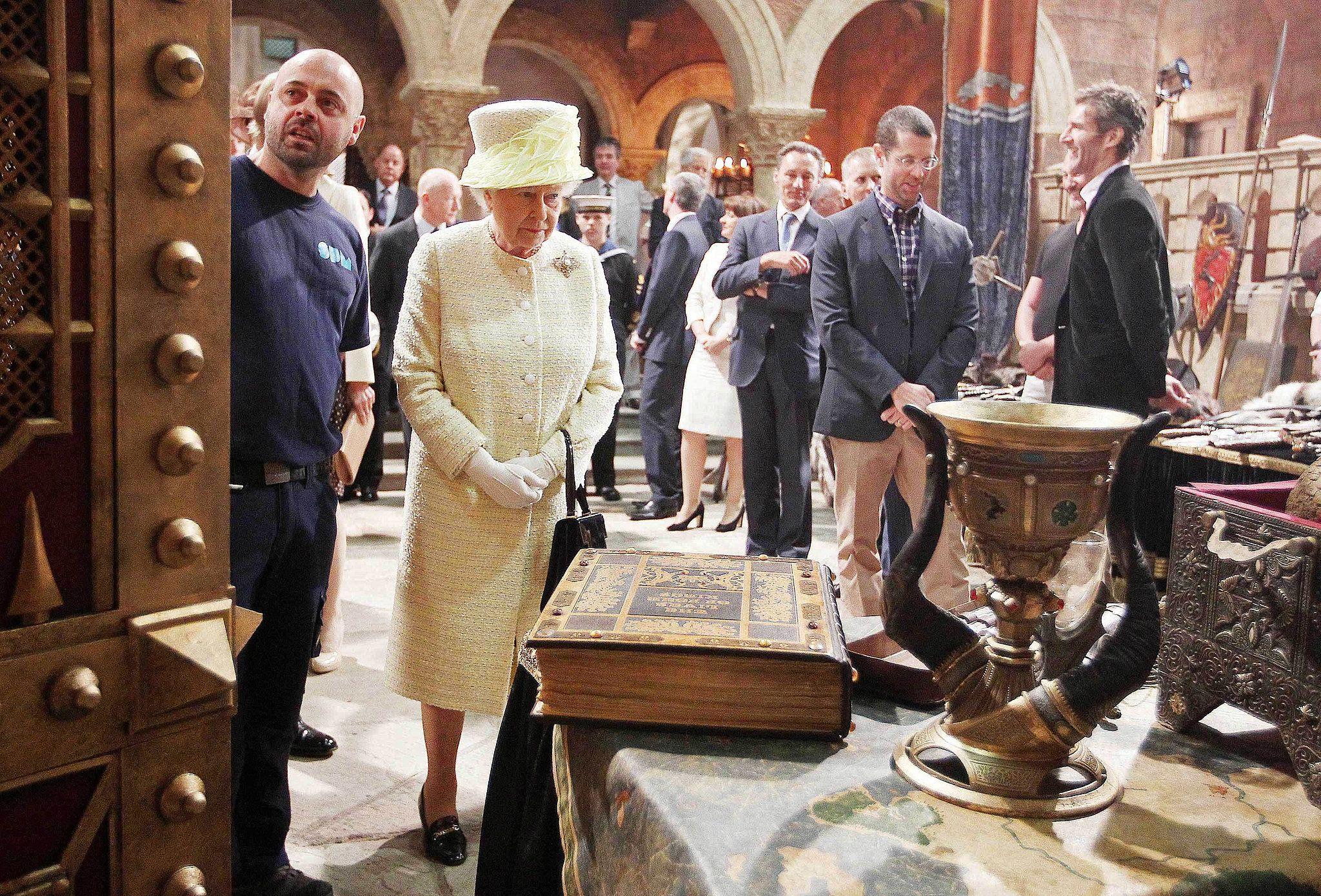 Queen Elizabeth II visiting the Belfast set of Game of Thrones.