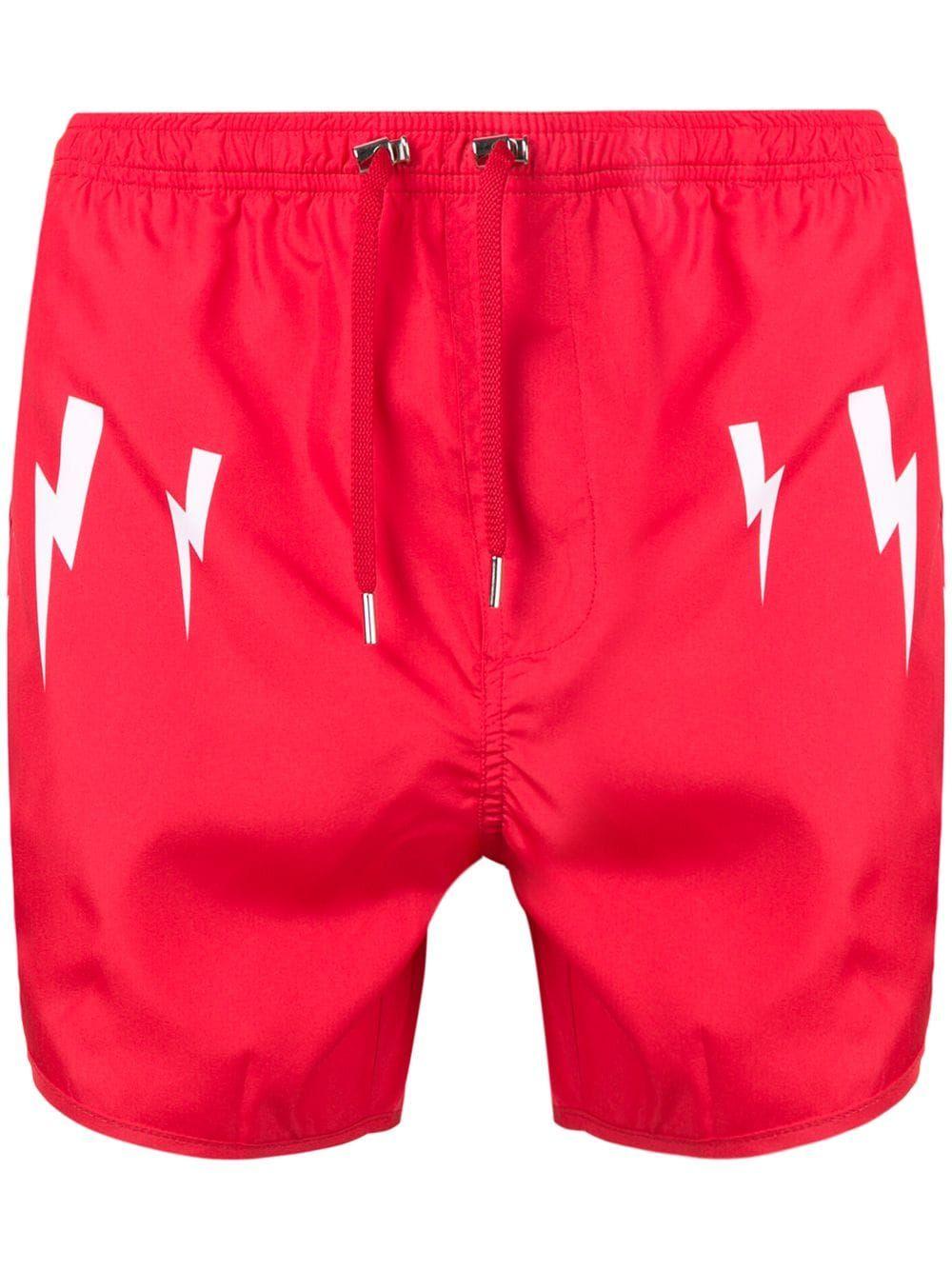 df8b3e8b4c NEIL BARRETT NEIL BARRETT LIGHTNING BOLT PRINT SWIM SHORTS - RED. # neilbarrett #cloth