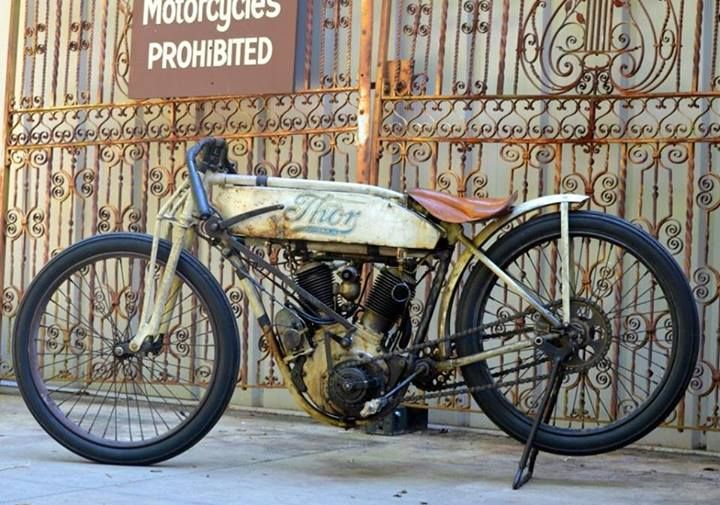 """""""Thor Racer"""". Thor was produced by the Aurora Automatic Machine Company during the early 1900s in Aurora, IL. This 1913 Thor Model SR Racer came from Howard Hielman, the legendary seat-maker. It is the only known Thor racing twin and is on permanent display at Wheels Through Time."""
