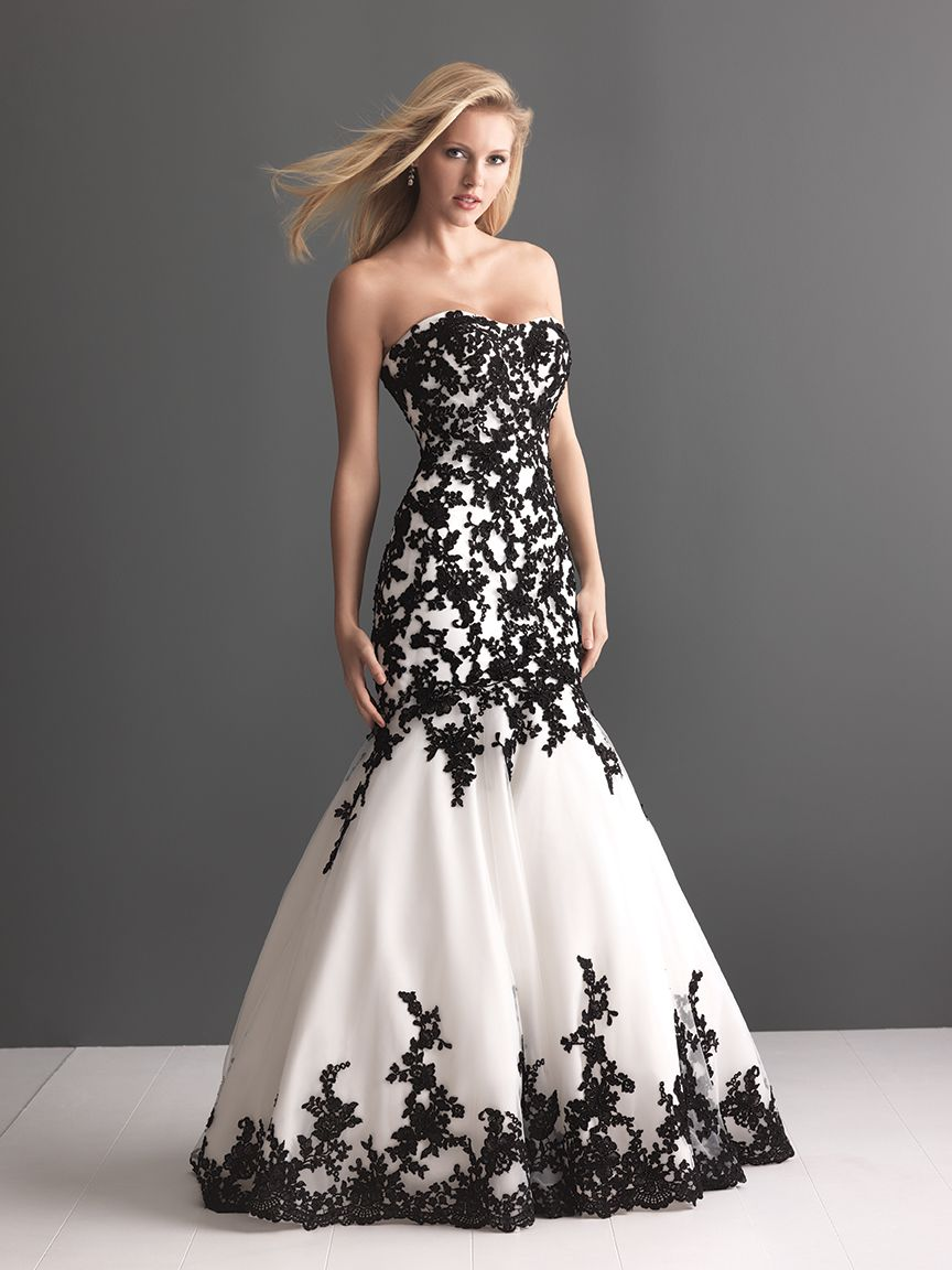 Black And White Lace Applique Wedding Dress Black Wedding