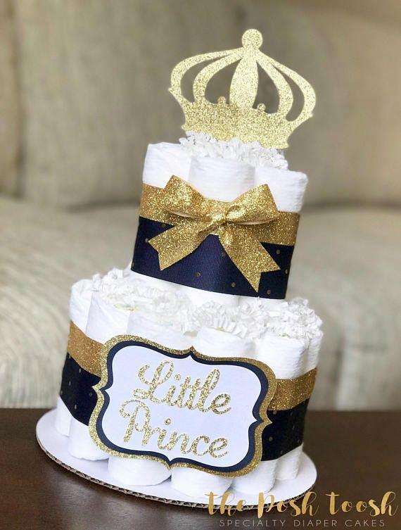 Navy Diaper Cake Boy Little Prince Navy Gold Royal Crown Baby