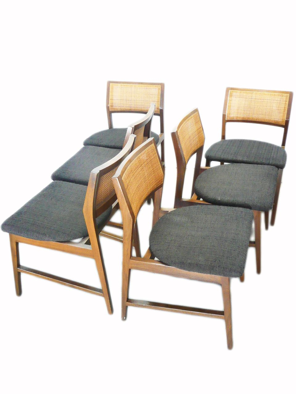 mid century vintage edward wormley for dunbar cane back dining chairs mid century modern. Black Bedroom Furniture Sets. Home Design Ideas